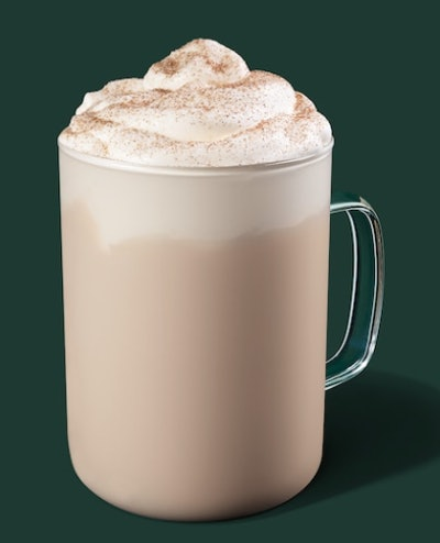 Image of Starbucks hot Cinnamon Dolce Creme drink.