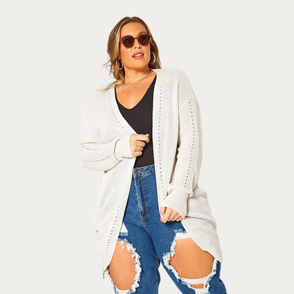 Plus Size Waffle Knit Open Front Long Cardigan