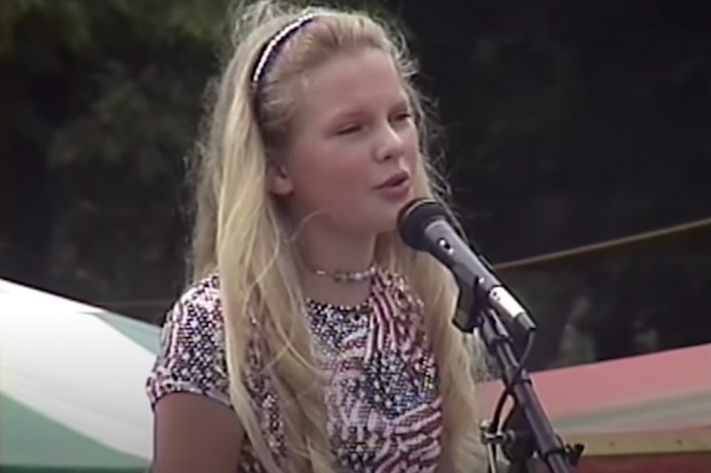 Taylor Swift as a pre-teen in her 'The Best Day (Taylor's Version)' music video.