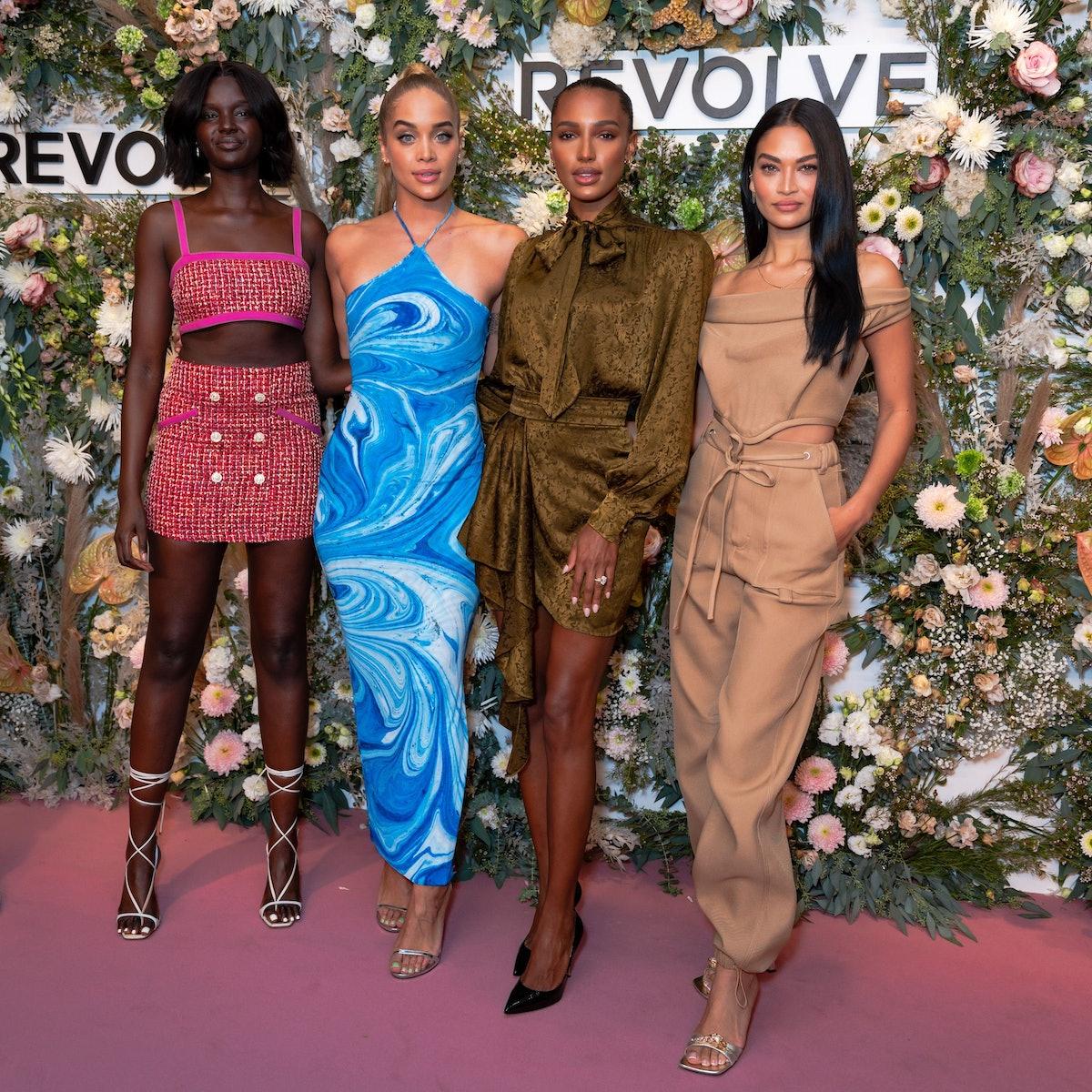 Duckie Thot, Jasmine Sanders, Jasmine Tookes and Shanina Shaik attends the Revolve Gallery at Hudson...