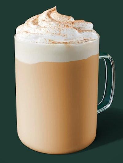 Image of Starbucks hot Pumpkin Spice Creme drink.