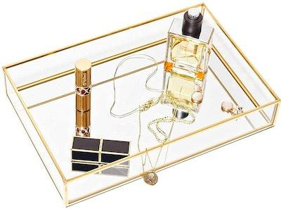 CHICHIC Gold Mirror Tray Jewelry Organizer
