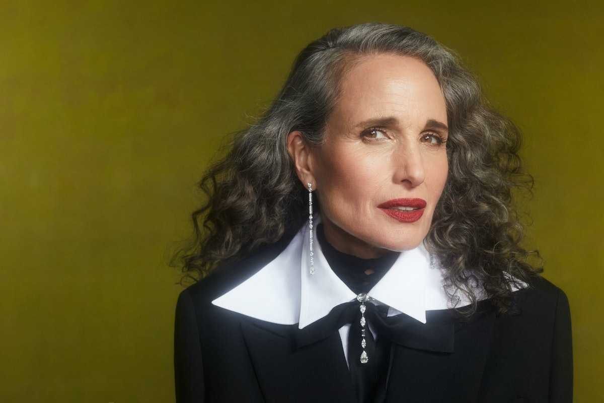 Andie MacDowell shows off her gray hair as the cover of TZR's fall beauty issue.