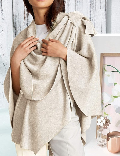 PULI Large Cross Front Poncho Sweater