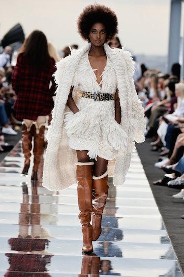Model in knit dress.
