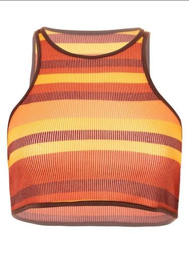 Emmiol Orange Stripe Ribbed Crop Tank Top