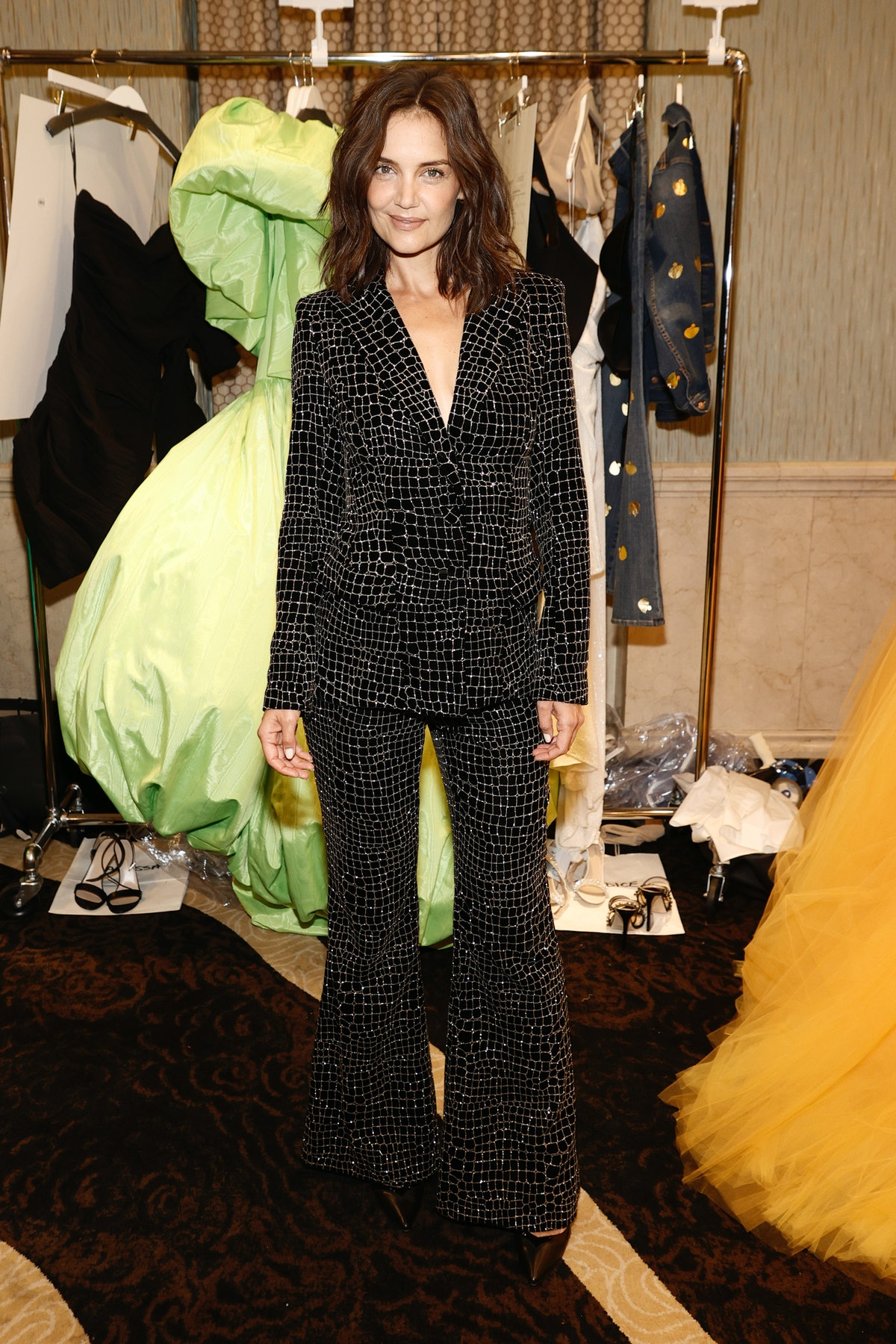 Katie Holmes poses backstage at the Christian Siriano SS2022 Fashion Show at Gotham Hall on Septembe...