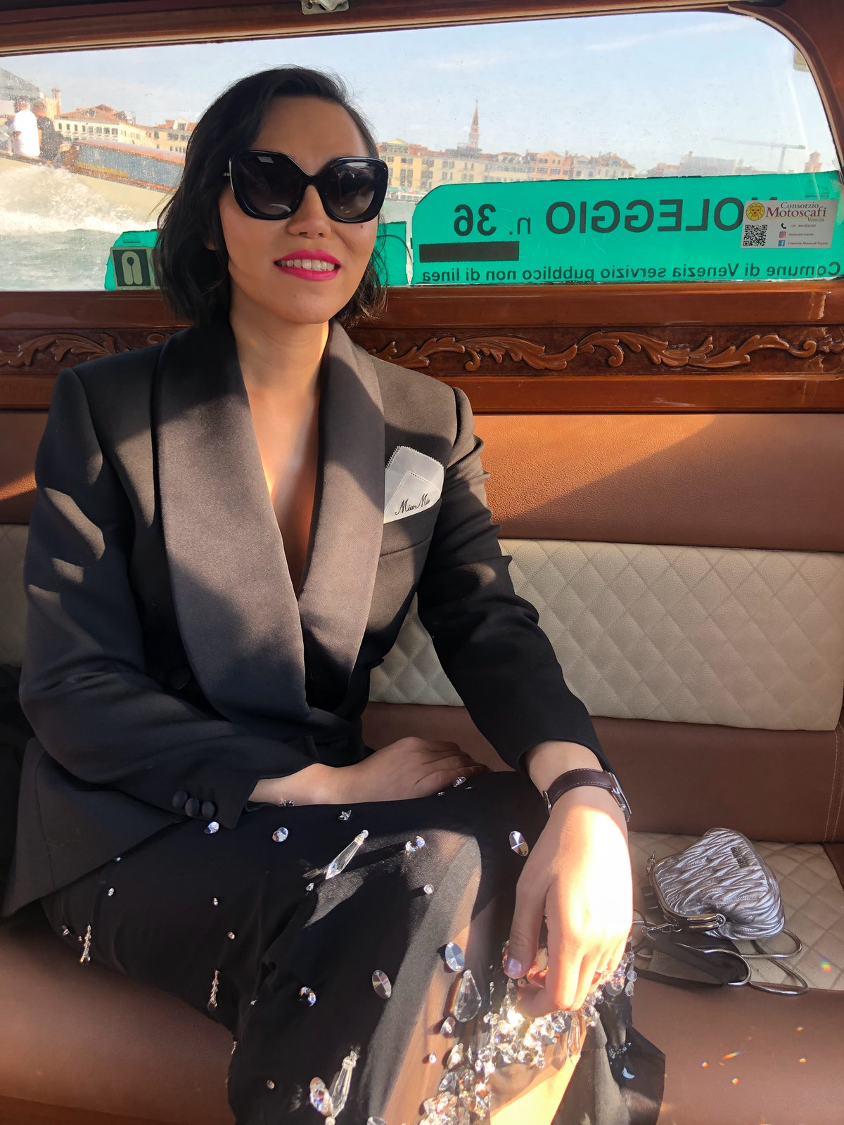 Isabel Sandoval in a water taxi