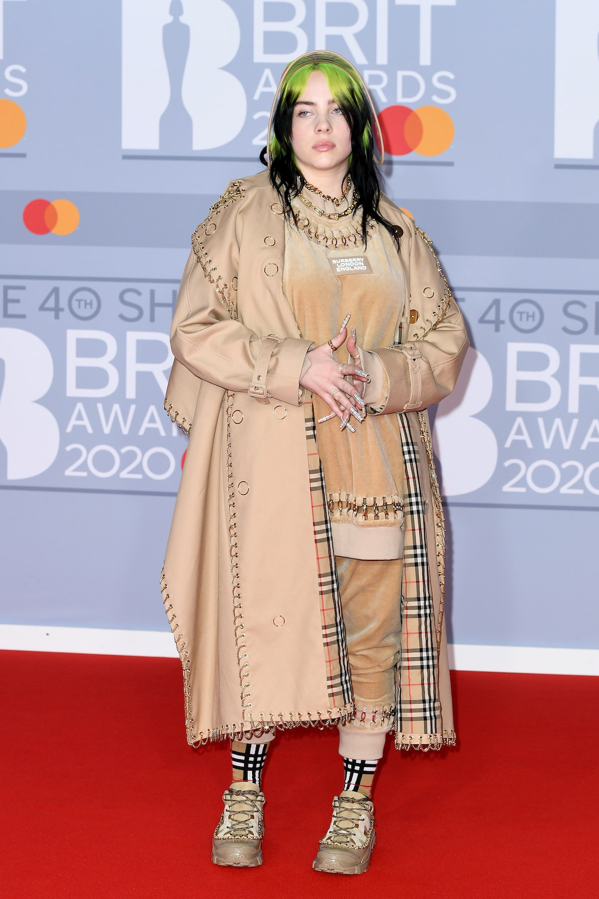 Billie Eilish attends The BRIT Awards 2020 at The O2 Arena on February 18, 2020 in London, England....