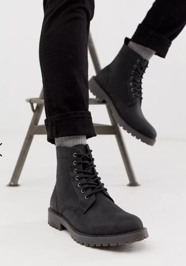 ASOS DESIGN Black Lace Up Leather Boots