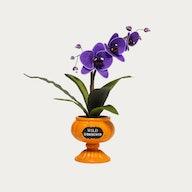 Ghoulish Garden Wild Gorechid Faux Halloween Plant Purple with Medium Pumpkin Planter