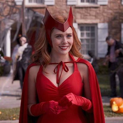 Wanda from 'WandaVision' wears her Halloween costume, which is an inspiration for some Marvel boo ba...