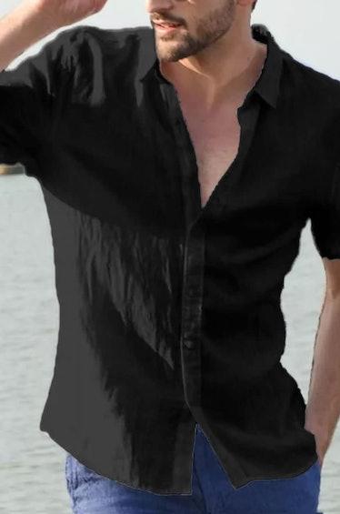 Men's Black Button Down Shirt