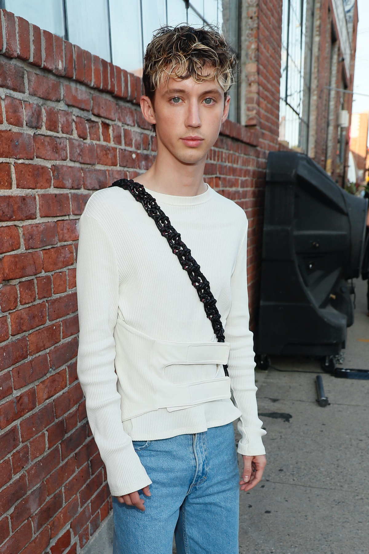 Troye Sivan attends the front row for Eckhaus Latta during NYFW: The Shows on September 10, 2021 in ...