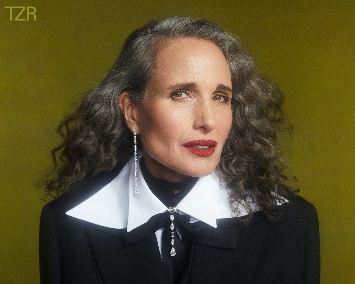 TZR cover star Andie MacDowell wears a bold red statement lip.