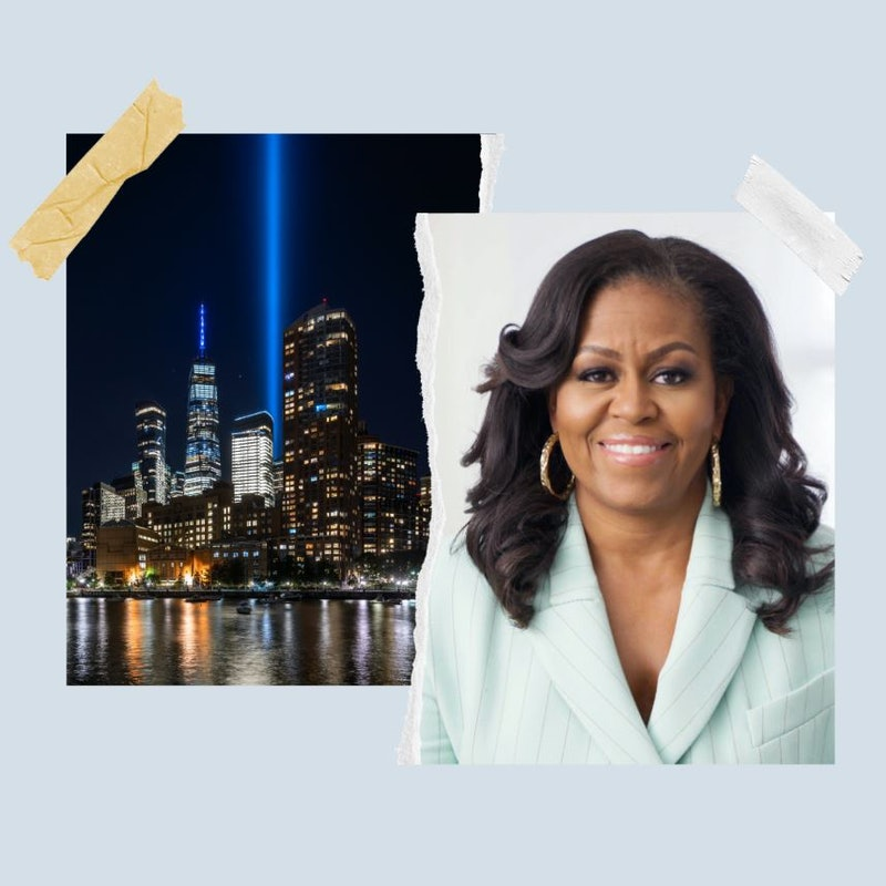 Celebrities including Michelle Obama pay tribute on the 20th anniversary of the 9/11 attacks.