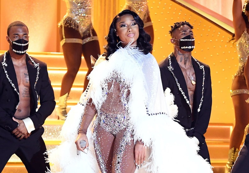 Megan Thee Stallion performs at the 2021 Grammy Awards.