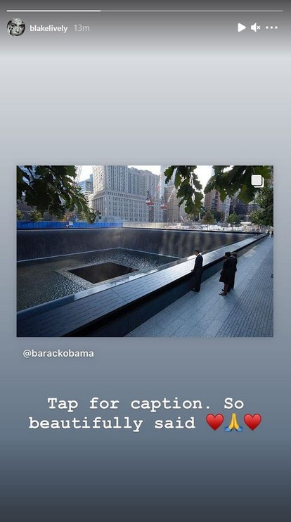 Blake Lively pays tribute to 9/11 victims in an Instagram story.