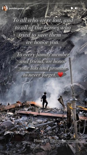 Jennifer Garner honors 9/11 victims in an Instagram story.
