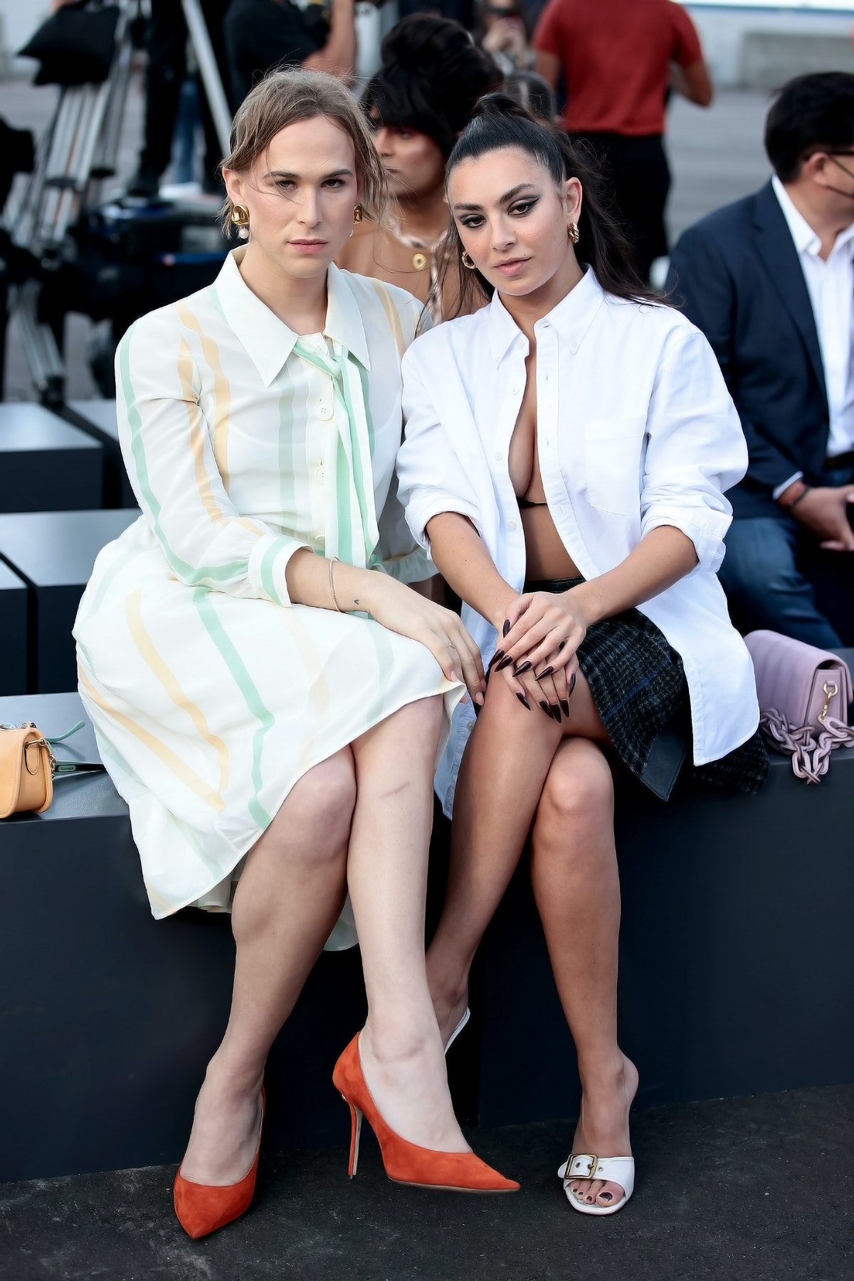 Tommy Dorfman (L) and Charlotte ' Charli XCX' Aitchison attend Coach during NYFW: The Shows on Septe...