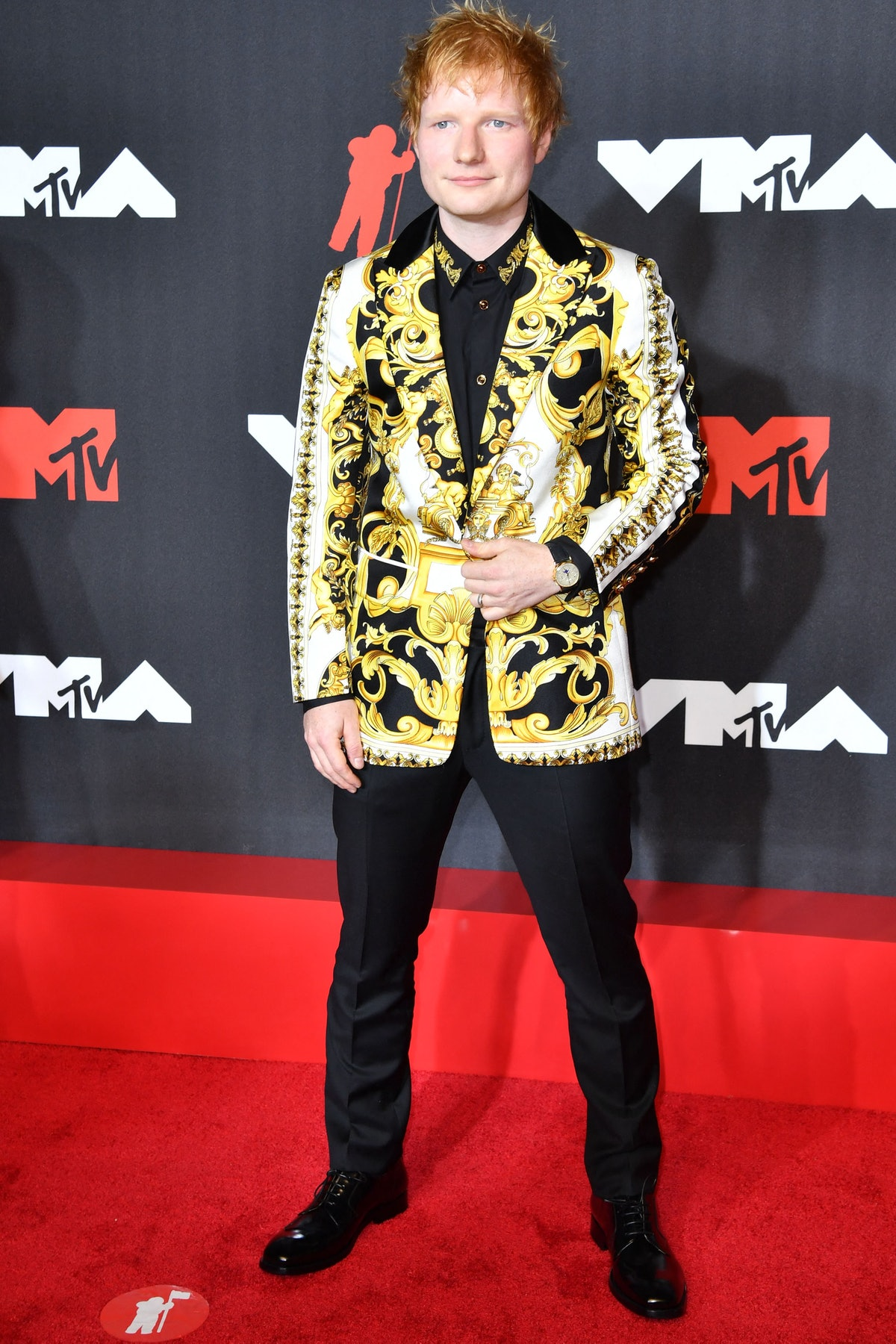 Ed Sheeran arrives for the 2021 MTV Video Music Awards at Barclays Center in Brooklyn, New York, Sep...