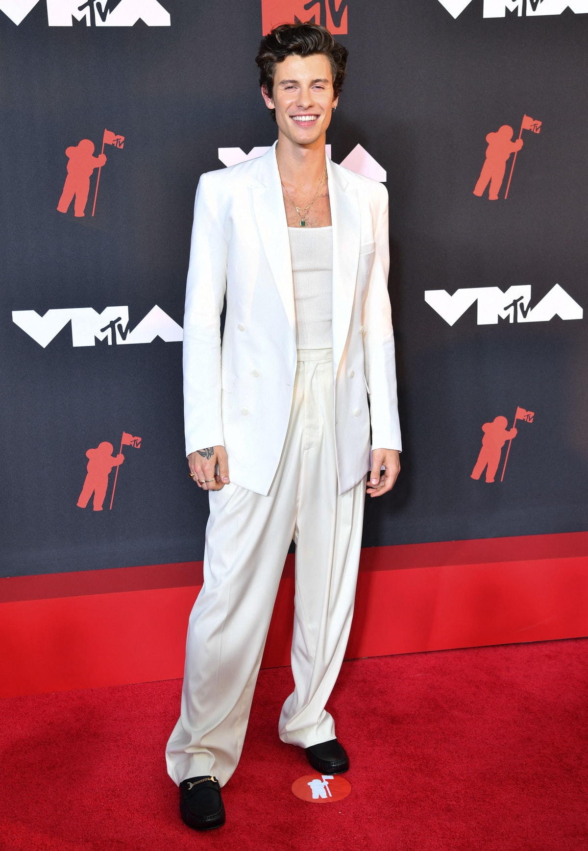 Shawn Mendes arrives for the 2021 MTV Video Music Awards at Barclays Center in Brooklyn, New York, ...
