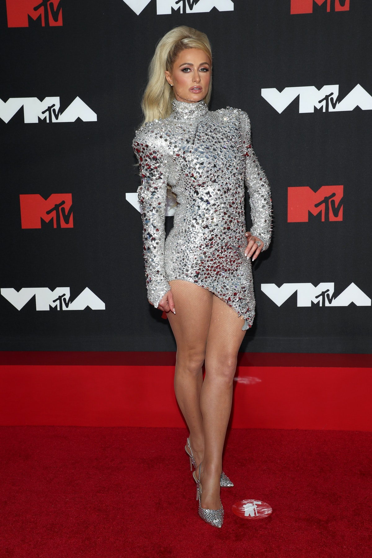 Paris Hilton attends the 2021 MTV Video Music Awards at Barclays Center on September 12, 2021 in the...