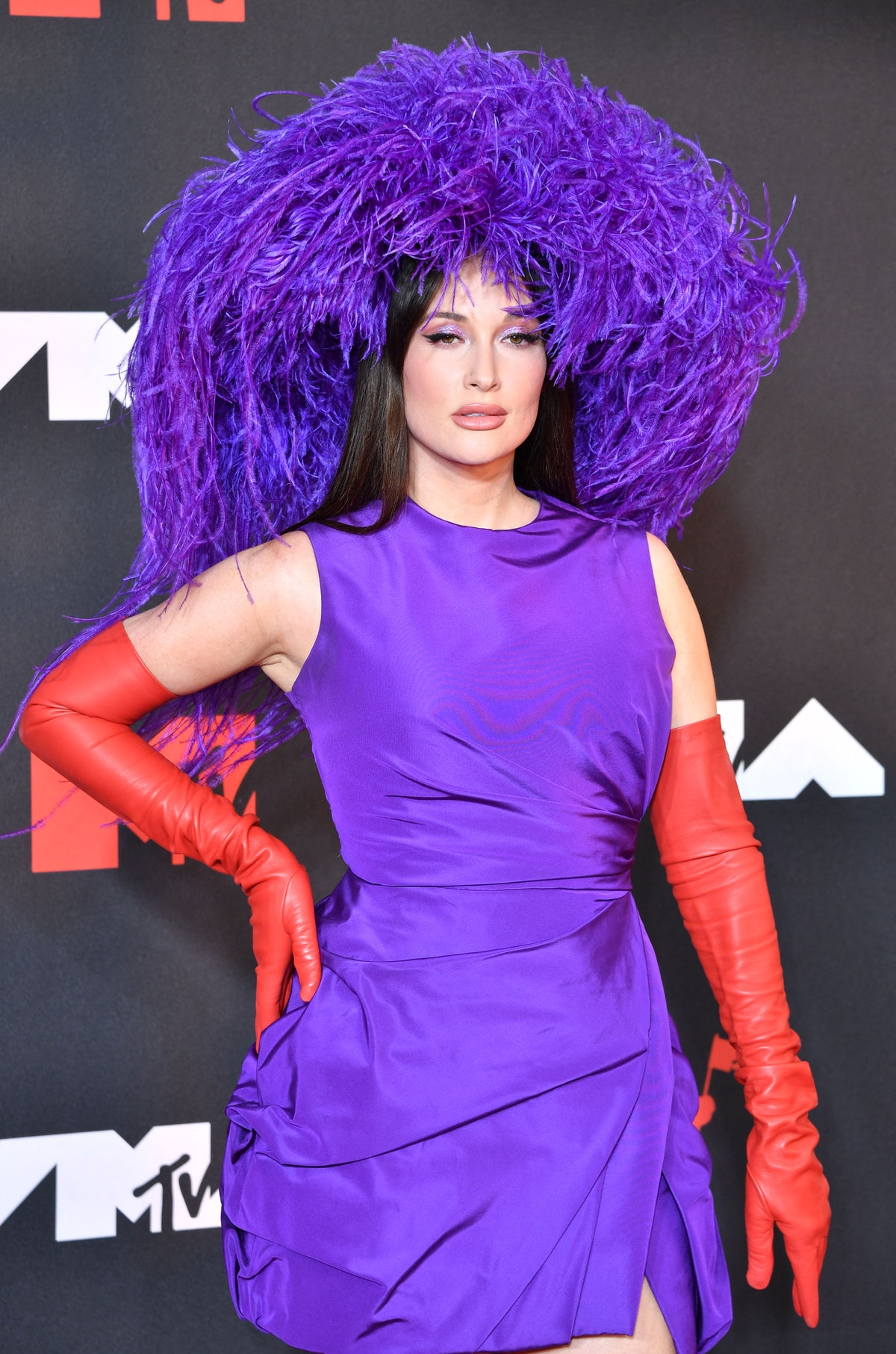 US singer-songwriter Kacey Musgraves arrives for the 2021 MTV Video Music Awards at Barclays Center ...