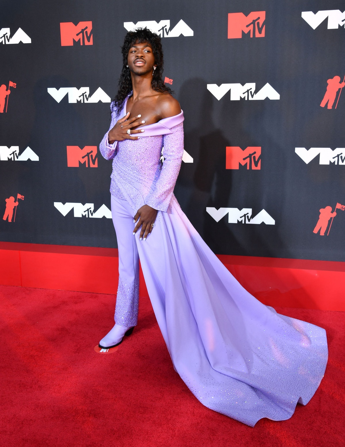 Lil Nas X arrives for the 2021 MTV Video Music Awards at Barclays Center in Brooklyn, New York, Sept...