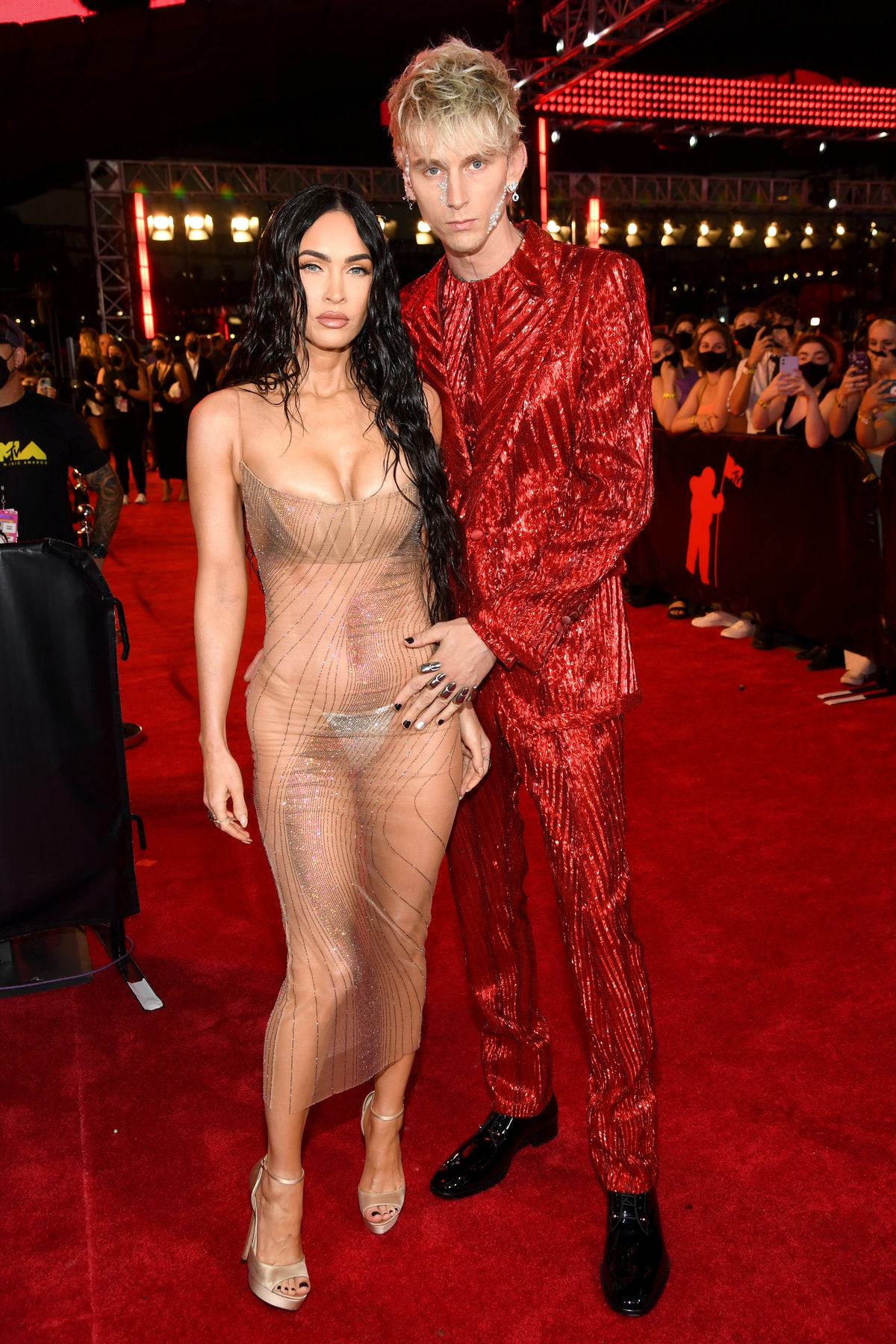 Megan Fox and Machine Gun Kelly attend the 2021 MTV Video Music Awards at Barclays Center on Septemb...
