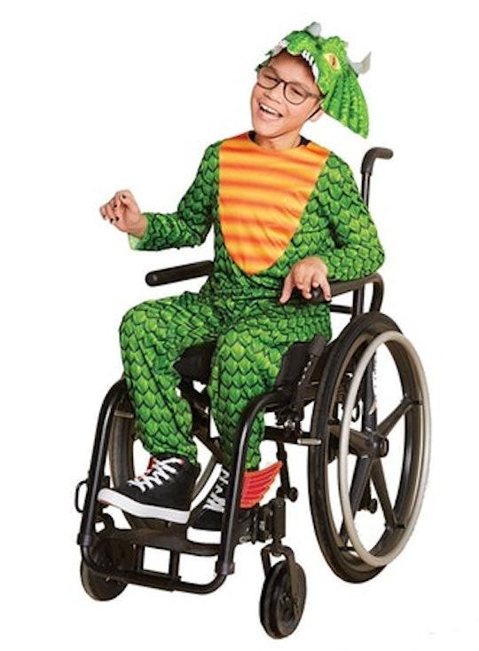 boy in adaptive dragon halloween costume