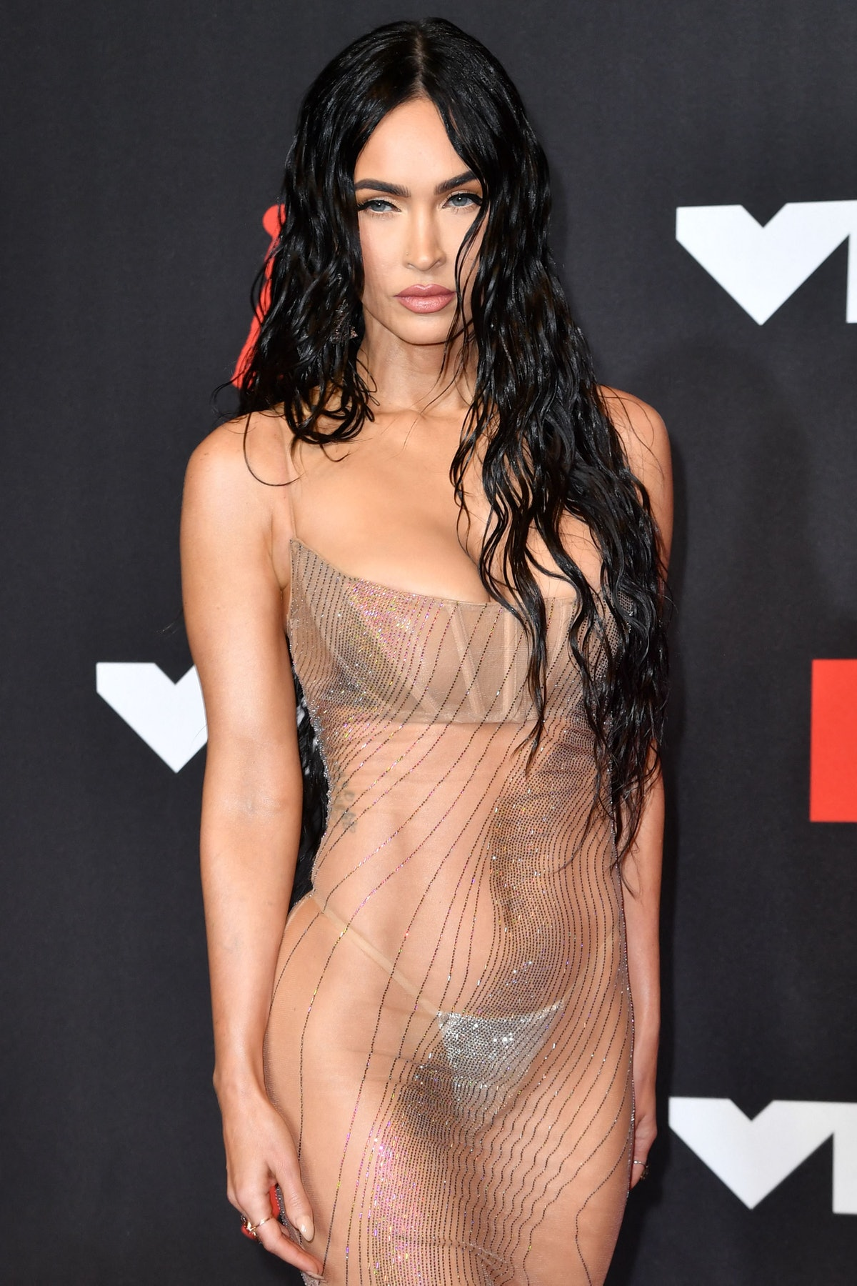 Megan Fox arrives for the 2021 MTV Video Music Awards at Barclays Center in Brooklyn, New York, Sept...