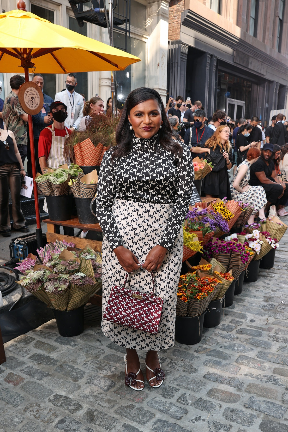 Mindy Kaling attends the Tory Burch Spring/Summer 2022 Collection & Mercer Street Block Party on Sep...