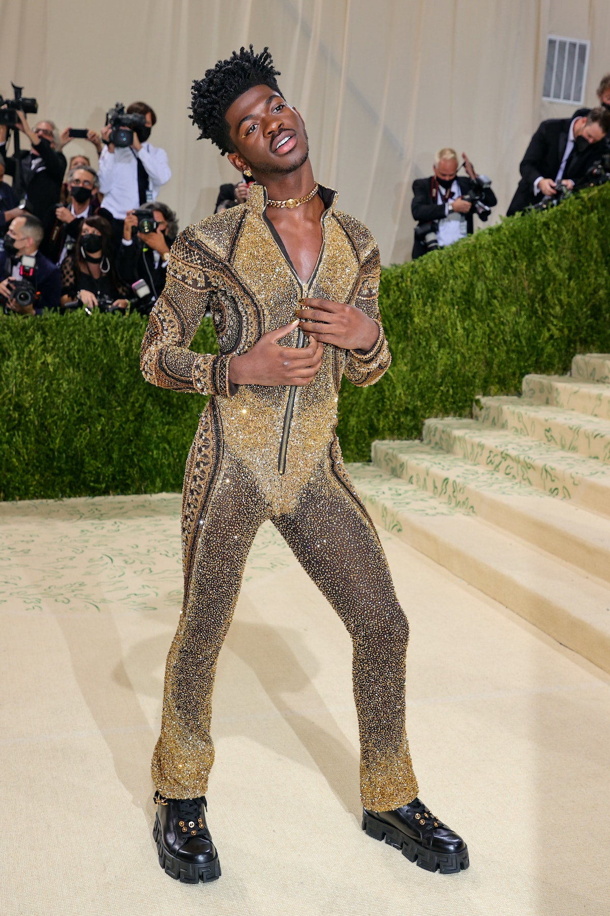 Lil Nas X attends The 2021 Met Gala Celebrating In America: A Lexicon Of Fashion at Metropolitan Mu...