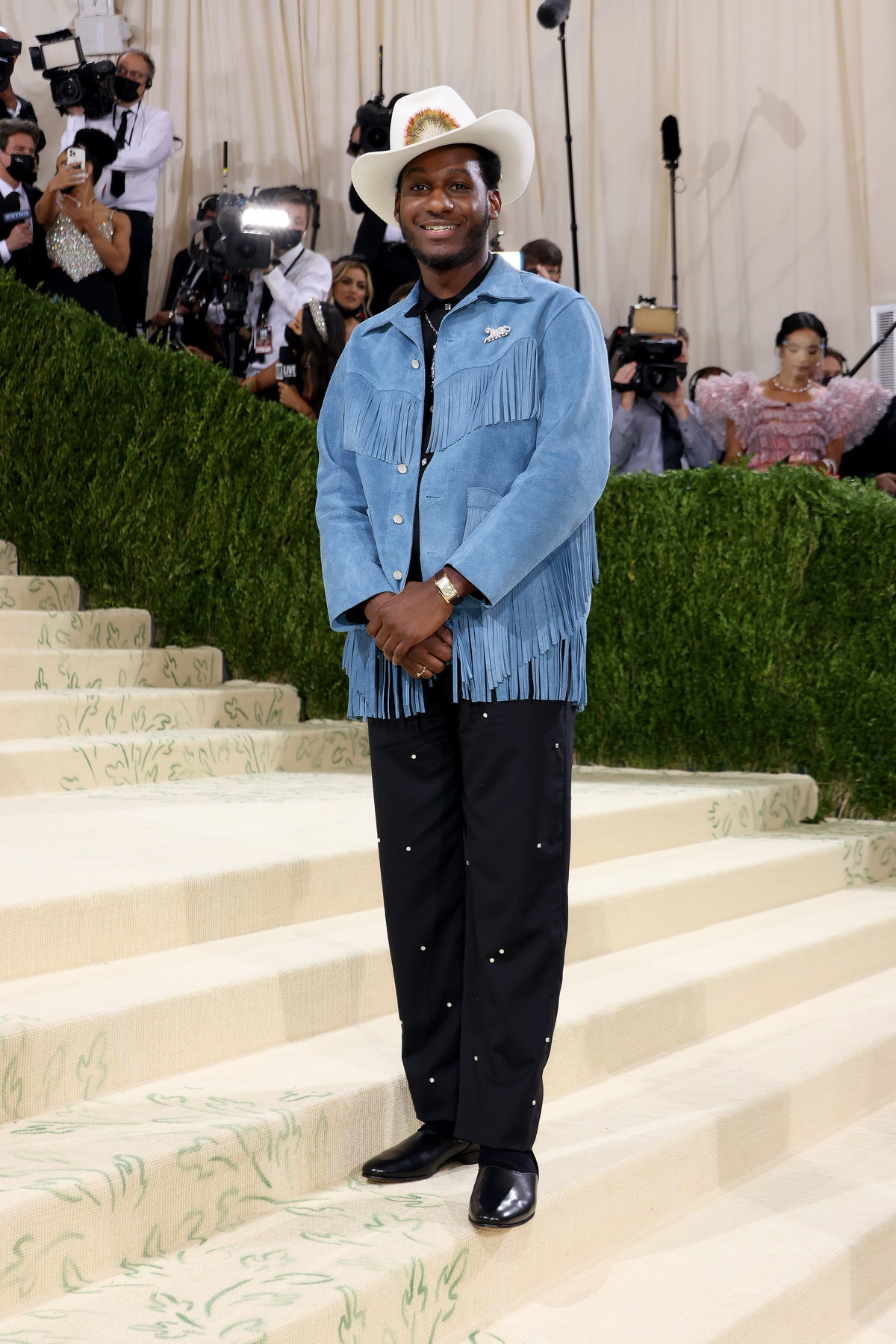 Leon Bridges attends The 2021 Met Gala Celebrating In America: A Lexicon Of Fashion at Metropolitan ...