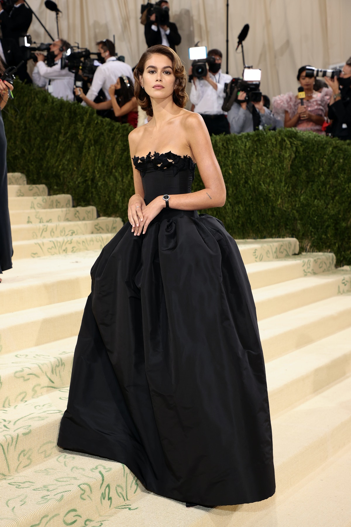 Kaia Gerber attends The 2021 Met Gala Celebrating In America: A Lexicon Of Fashion at Metropolitan M...