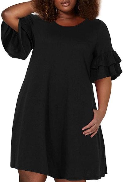 Nemidor Ruffle Sleeve Jersey Knit Plus Size Dress