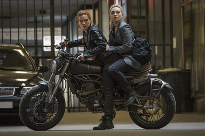 A still from 'Black Widow,' with Scarlett Johansson and Florence Pugh on top of a motorcycle.