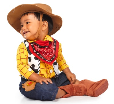 """Baby dressed up as Woody from """"Toy Story"""""""