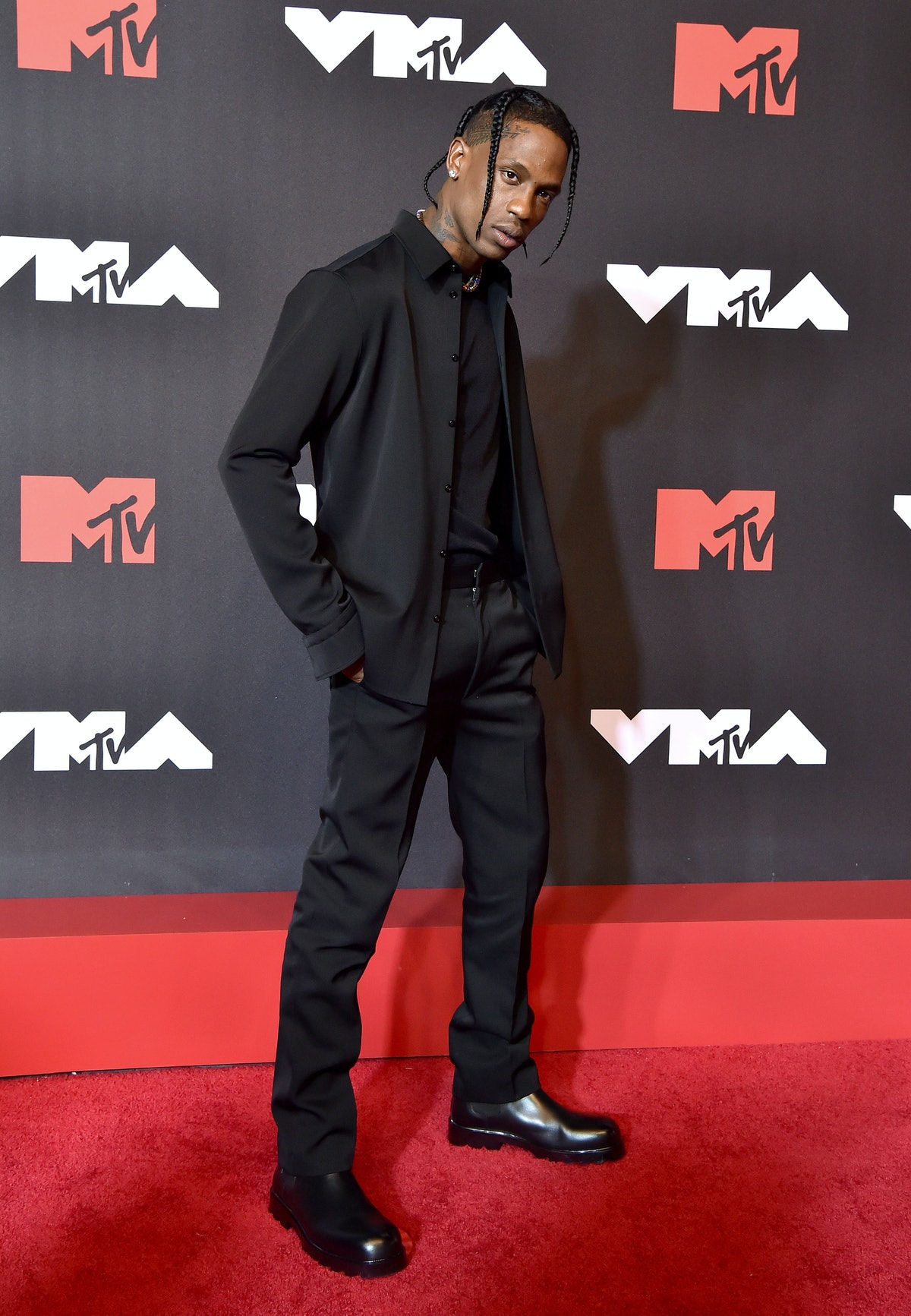 Travis Scott attends the 2021 MTV Video Music Awards at Barclays Center on September 12, 2021 in the...