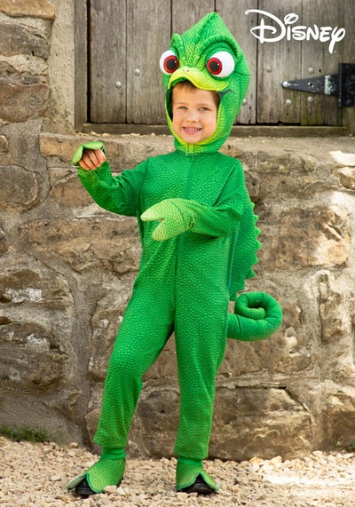 Little boy in Pascal costume from Rapunzel