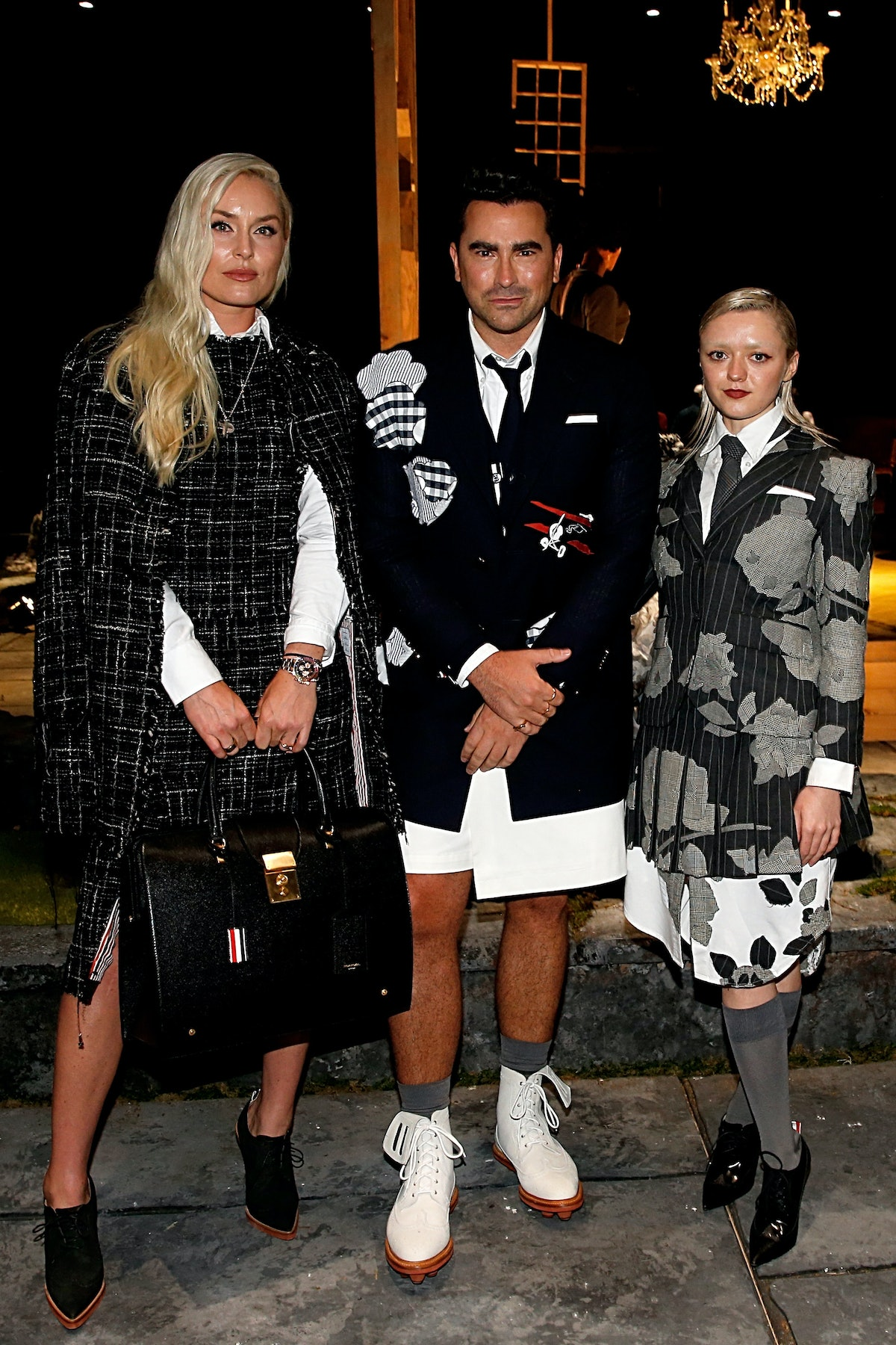 Lindsey Vonn, Dan Levy and Maisie Williams attend the Thom Browne front row during NYFW: The Shows a...