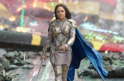 A still from 'Thor: Ragnarok', with Tessa Thompson striding away from battle wearing her armor.