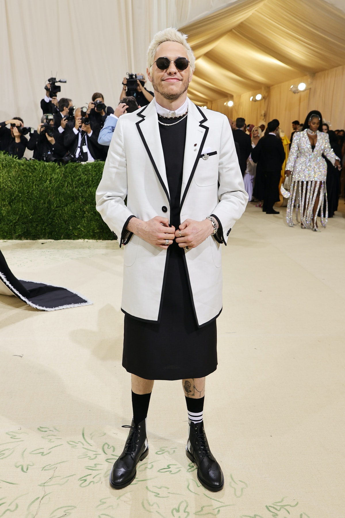 Pete Davidson attends The 2021 Met Gala Celebrating In America: A Lexicon Of Fashion at Metropolitan...