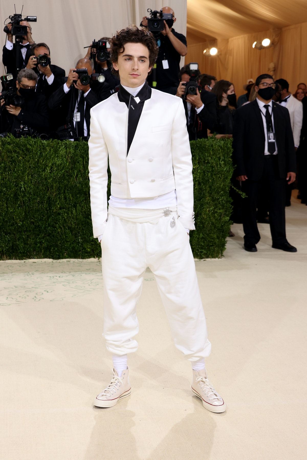 Co-chair Timothée Chalamet attends The 2021 Met Gala Celebrating In America: A Lexicon Of Fashion at...