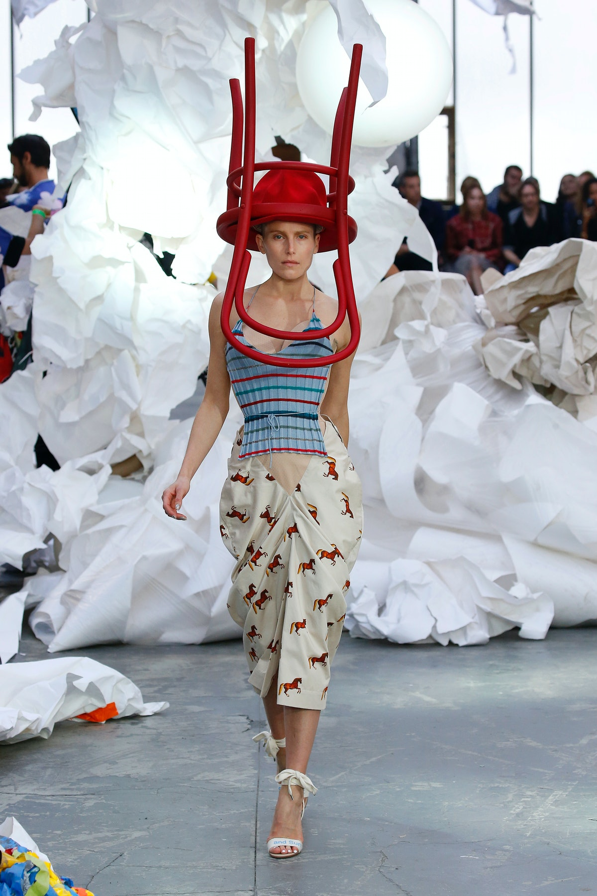 A model walks the runway during the Vivienne Westwood show as part of the Paris Fashion Week Womensw...