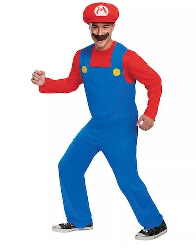Adult dressed up in Mario costume