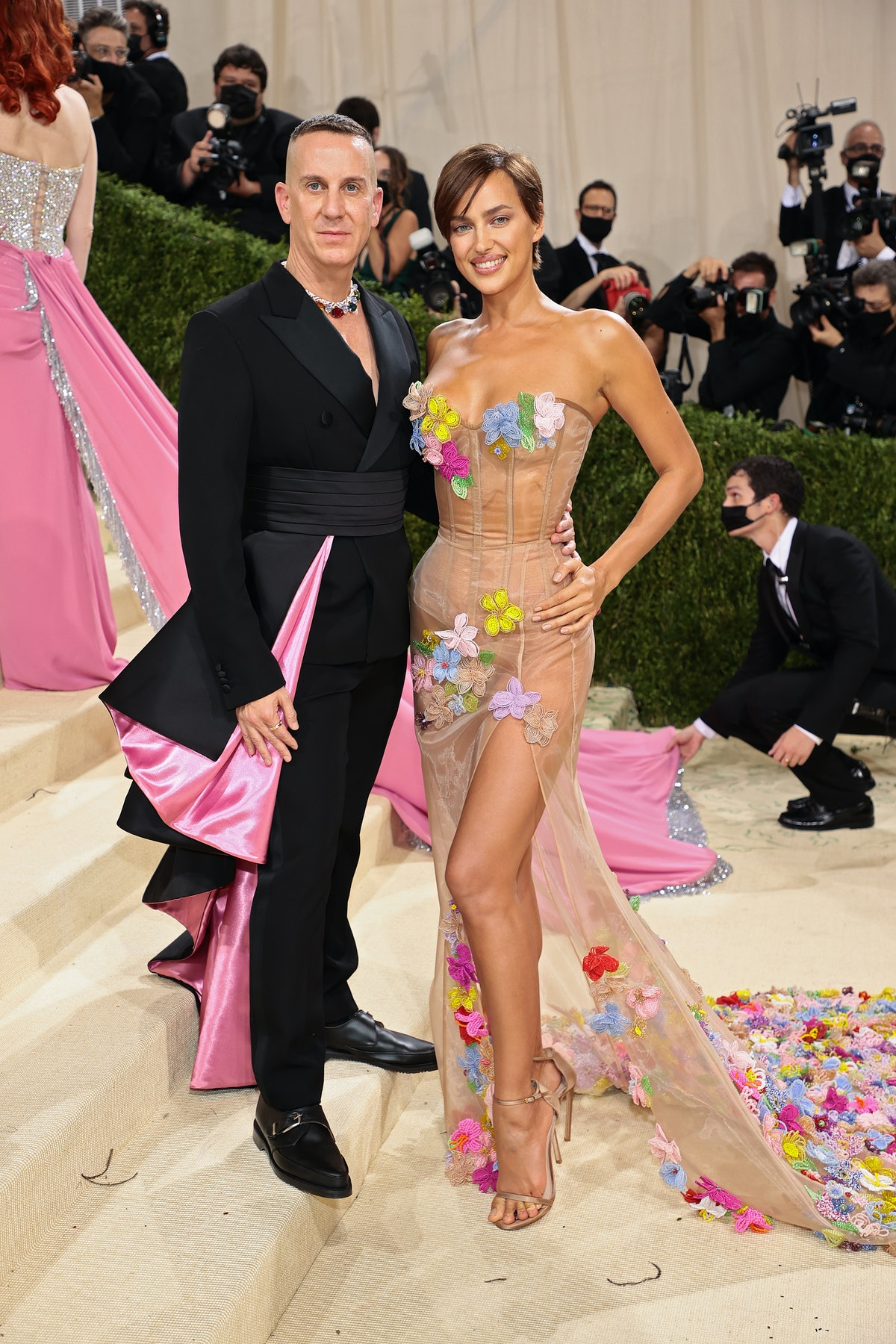 Jeremy Scott and Irina Shayk attend The 2021 Met Gala Celebrating In America: A Lexicon Of Fashion a...