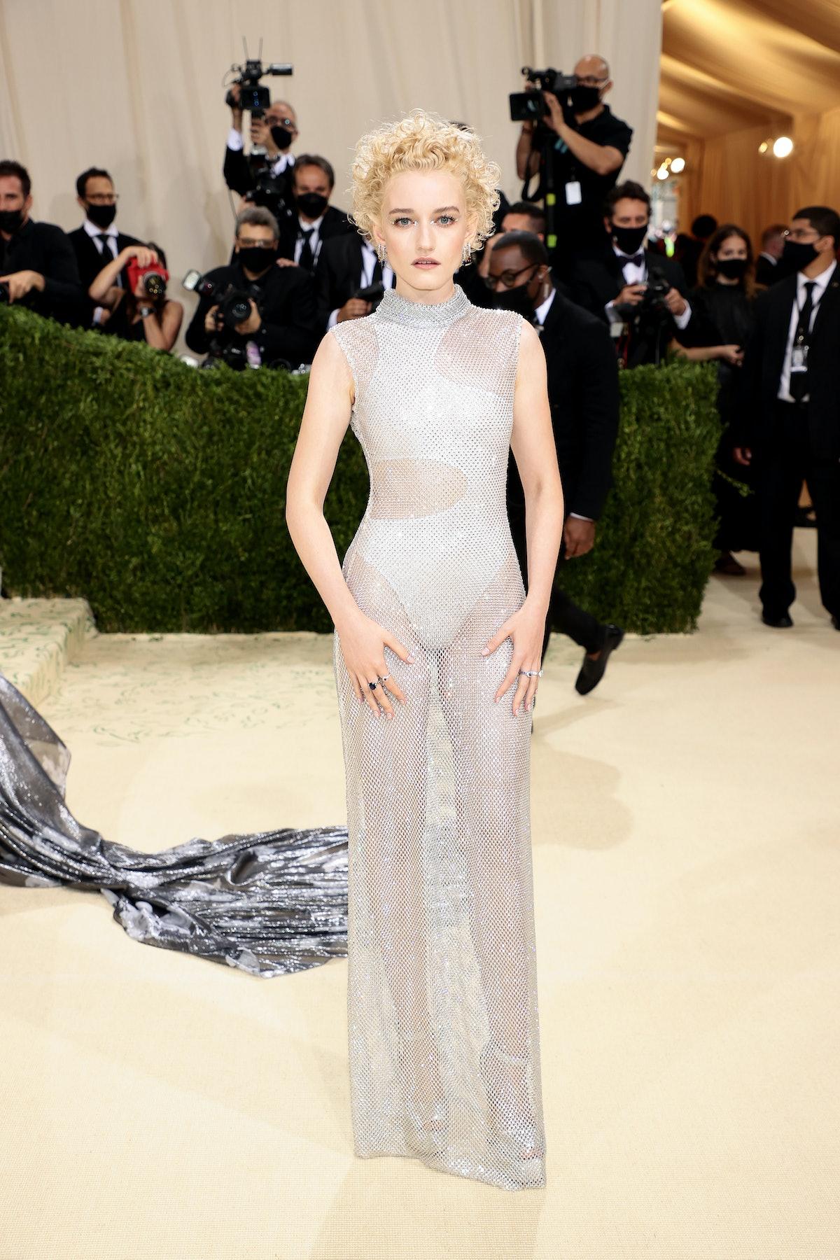 Julia Garner attends The 2021 Met Gala Celebrating In America: A Lexicon Of Fashion at Metropolitan...