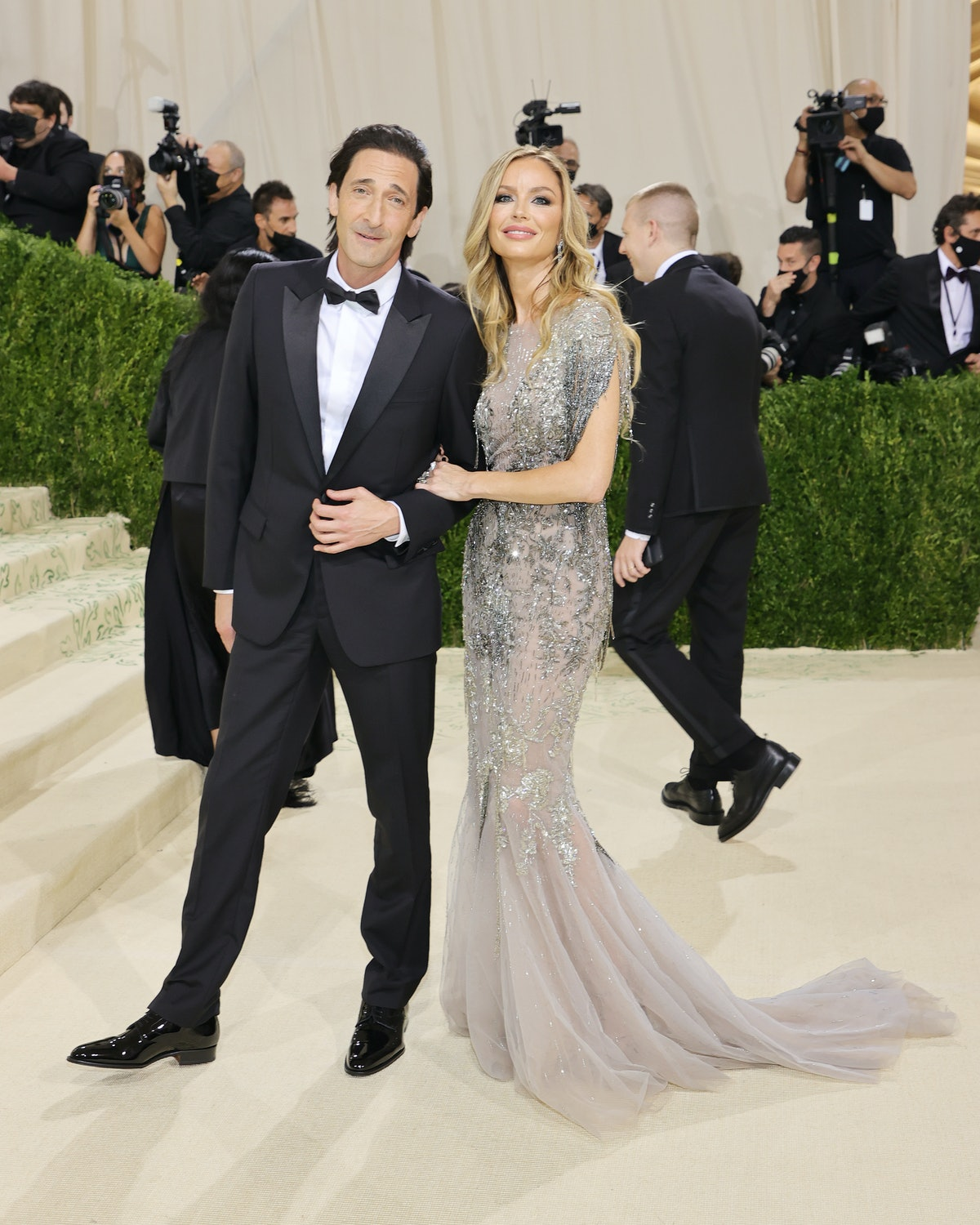 Adrien Brody and Georgina Chapman attend The 2021 Met Gala Celebrating In America: A Lexicon Of Fash...